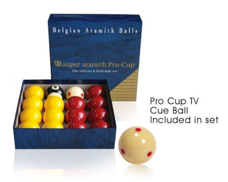 Aramith 2″ Pro Cup Pool Balls & TV Cue Ball