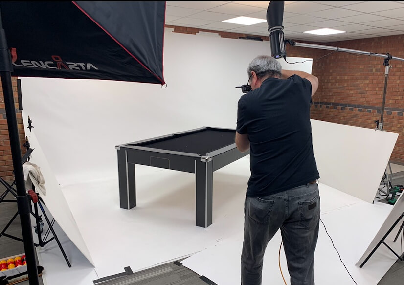 New DPT pool table being photographed.